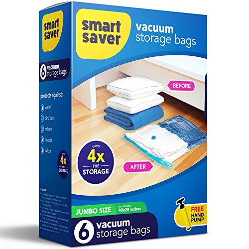 SmartSaver Vacuum Storage Bags Lifetime Replacement Guarantee - Premium Vacuum Storage Bags pack of 6 Large Sized Jumbo 40X28 Space Saver Ziplock Vacuum Storage Bags - FREE hand pump for travel