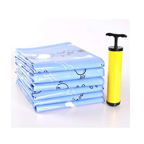 HongTeng Large Vacuum Bag 6 Pieces 100x80cm Suitable for Travel Or Space Saving and Dust Free Storage with Hand Pump