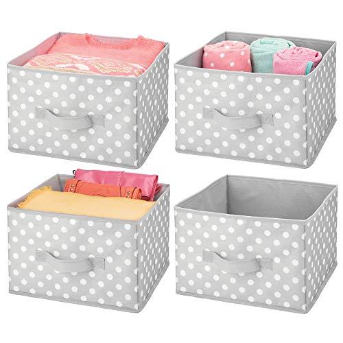 mDesign Soft Fabric Closet Storage Organizer Holder Box Bin - Attached Handle Open Top for ChildKids Bedroom Nursery Toy Room - Fun Polka Dot Print - Medium 4 Pack - GrayWhite Dots