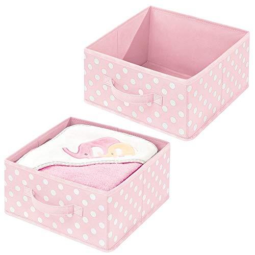 mDesign Soft Fabric Modular Closet Organizer Box Handle for Cube Storage Units in Closet Bedroom Bathroom - Holds Clothing T Shirts Leggings Accessories - Polka Dot Print 2 Pack - PinkWhite