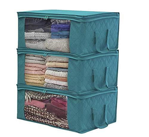 Dozenla Home Foldable Zipper Storage Bags Clothes Bedding Pillows Quilt Organizer Space Saver Bags
