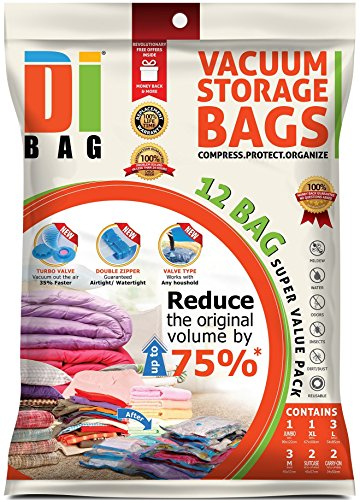 DIBAG Â 12 Bags Pack - Vacuum Storage Space Saver Bags 1 Jumbo 48X35 122X89 cm 1 XL 3937X2637 100X67 cm  3 Large 3346X2125 85X54 cm 3 Medium 2244X1771 57X45 cm  2 Suitcase Travel Roll-up Bags 2244X1771