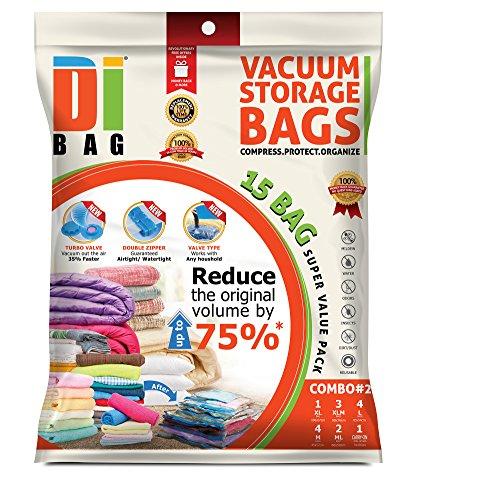 DIBAG 15 Bags Pack Vacuum Compressed Storage Space Saver Bags 4 pcs 57 x 45cm4 pcs 85 x 54cm3 pcs 90 x 70cm2 pc 60 x 50cm1 pc 100 x 67cm1 roll up vacuum 34 x 50 cm