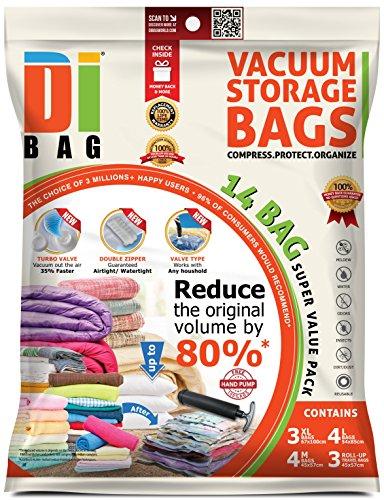 DIBAG Â Combo Set - 14 Bags Pack - Vacuum Storage Space Saver Bags4557cm4pcs67100cm3pcs5485cm4pcstravel up4557cm3pcs