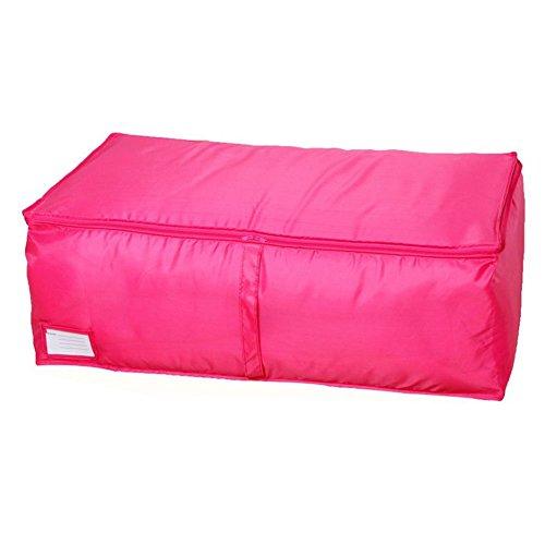 Whitelotous Clothes Quilt Bedding Duvet Zipped Handles Laundry Pillows Storage Bag Box L Rose Red