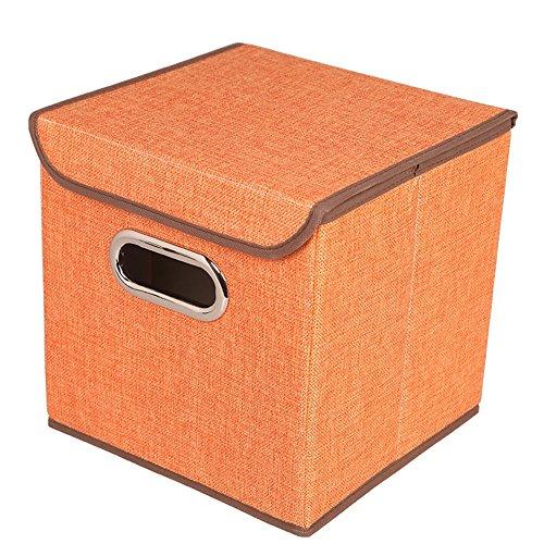 C360 Foldable Storage Cubes Non-woven Storage Box Basket Bin With Lid2 Pack 98x98x98 orange