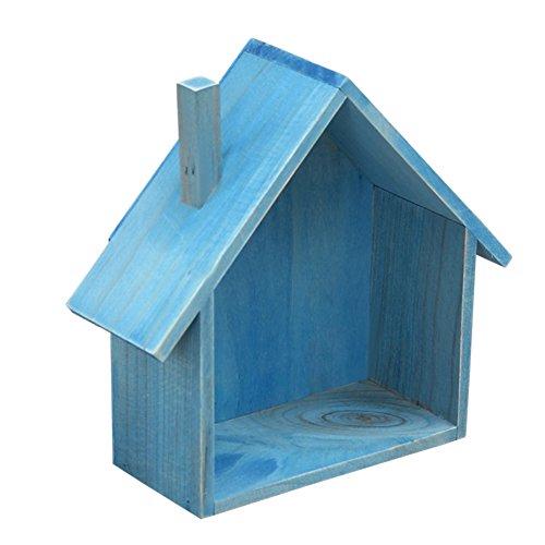 Ibnotuiy Wall Mounted Tabletop House-Shaped Wooden Shelf Rack Mini Storage Box Holder Flower Pot Home Sundries Organizer Blue