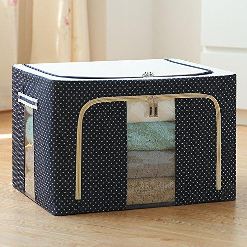 Organizers Sorting box Clothes receiving box quilt storage case clothes receiving box storage bag folding storage storage100L 4 steel frame Blue point DDHY