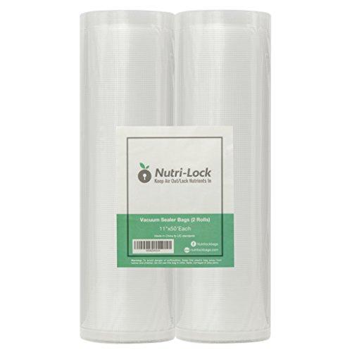Nutri-Lock Vacuum Sealer Bags 2 Pack 11x50 Commercial Grade Bag Rolls for FoodSaver Sous Vide