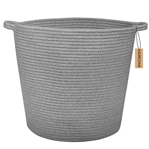 INDRESSME Cotton Rope Basket 160 X 150 X 126 Inches Extra Large Storage Bin Nursery Hamper Toy Bin Diaper Laundry Basket Dark Grey