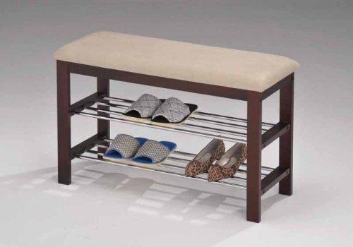 Inroom Furniture Designs SR-0628 Shoe rack bedroom hallway bench Cherry wood - Beige fabric Finish
