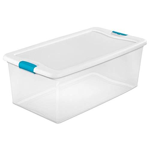 STERILITE 106 Qt Plastic Stackable Storage Container 4 Pack  64 Qt Storage Box Container 12 Pack