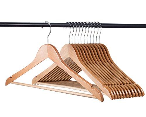 16 Pack Wood Suit Hangers Natural Wooden Coat Heavy Duty Hanger Lot for Clothes
