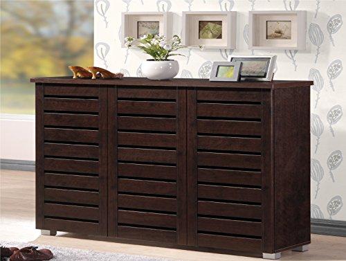 Wholesale Interiors Baxton Studio Adalwin Modern and Contemporary 3-Door Dark Brown Wooden Entryway Shoes Storage Cabinet