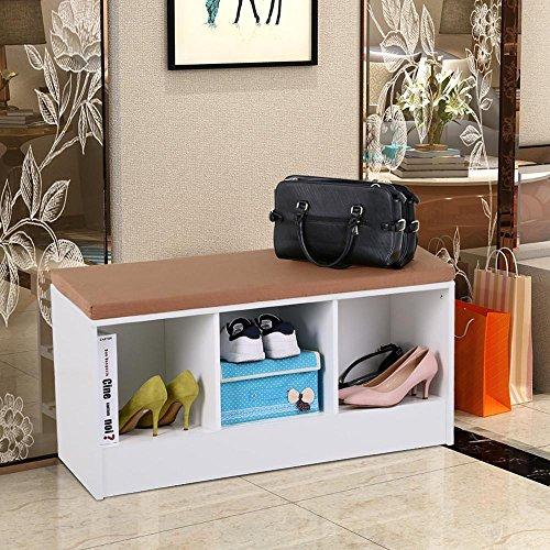 go2buy White Cube Entryway Shoe Storage Bench Organizer ShelfRack with Cushion Padded Seat Hallway Bedroom Furniture