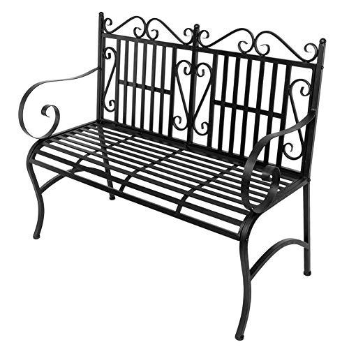 Ooscy Patio Garden Bench Park Yard Outdoor FurnitureDecorative Outdoor Garden SeatingPark Yard Bench with Decorative Cast Iron Backrest