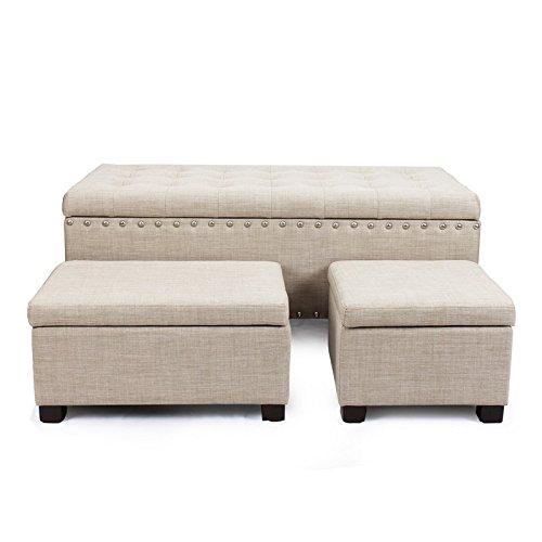 DecentHome Fabric Tufted Nailhead Trim Trio Storage Ottoman Bench Set of 3 White Beige