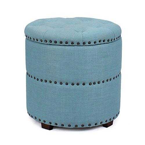 Homebeez Euro Style Fabric Bench Ottoman Chair Footstool Wood Legs lid storage Nailhead Trim Cylinder Blue