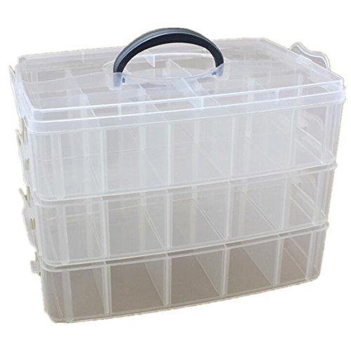 Aksautoparts Multi-grid Transparent Jewelry Bead Plastic Organizer Box Storage Container Case White