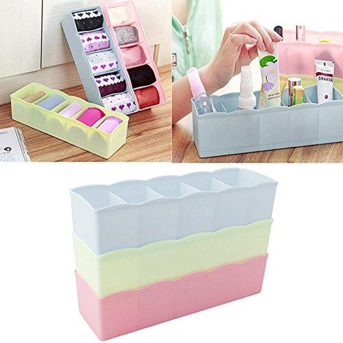 YingNeng 5 Unit Plastic Desk Drawer Closet Underwear Bras Sock Ties Organizer Storage Box-Sky Blue