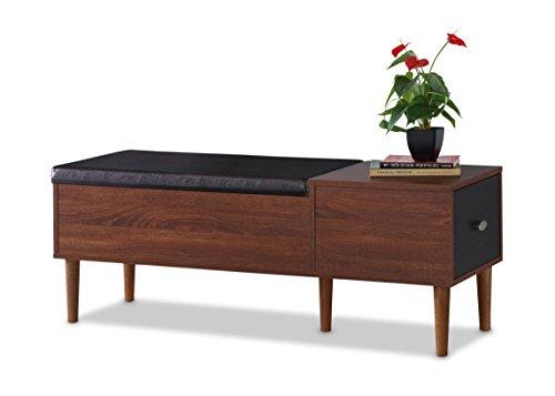 Baxton Furniture Studios Merrick Mid-Century Retro Modern 1 Drawer and Wood Cushioned Bench Shoe Rack Cabinet Organizer Dark Brown