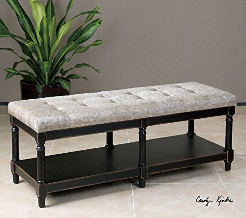 Turned Wood Classic Cushioned Bench  Tufted Black Khaki