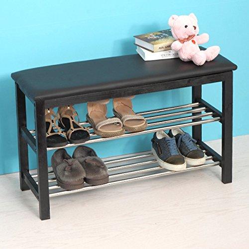 Shoe Rack Storage Bench Entryway w 2-Tier Black Modern Home Furniture Shelf