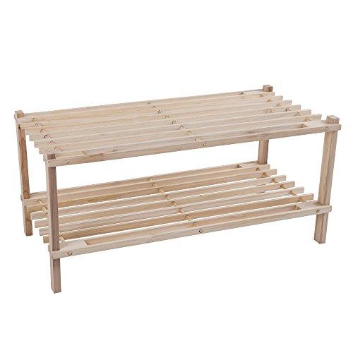 Wood Shoe Rack Storage Bench – Closet Bathroom Kitchen Entry Organizer 2-Tier Space Saver Shoe Rack by Lavish Home