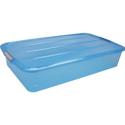 IRIS 50 Quart Underbed Buckle Up Box Blue