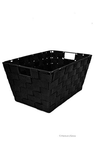 American Chateau 12 x 8 Black Durable Woven Nylon Basket Home Storage Bin Tote with Handles