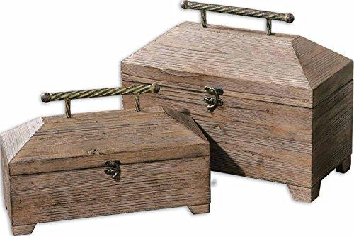 Set of 2 Antiqued Natural Wood Decorative Lidded Storage Boxes 16