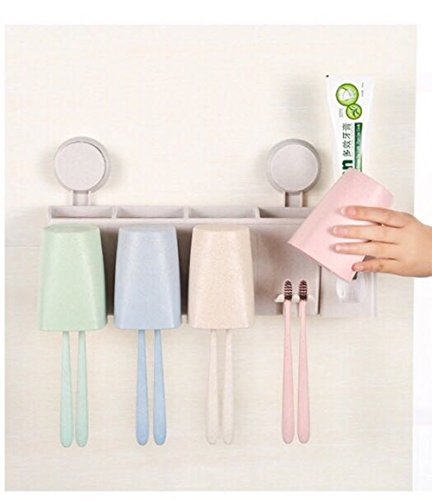 Family of four Multifunctional Wall Mount Bathroom Wash Suit Rack Wash Cup Bathroom Toothbrush Holder Toothpaste Holder Bathroom Storage Shelf Wash Rack Automatic Toothpaste Dispenser