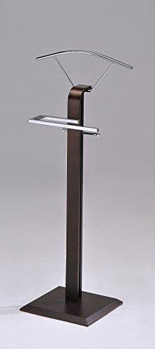 Kings Brand Furniture Modern Chrome  Walnut Suit Rack Valet Stand