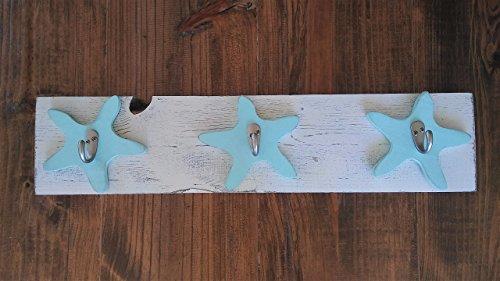 Starfish Reclaimed Wood Towel Suit Hat Key Pool Coat Rack Coastal Beach Hooks Home House Hanging Decor - Outdoor Shower