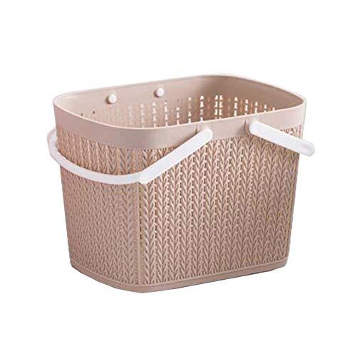DRAGON SONIC Bath Storage Basket Plastic Storage Basket with Handles £¨Khaki£