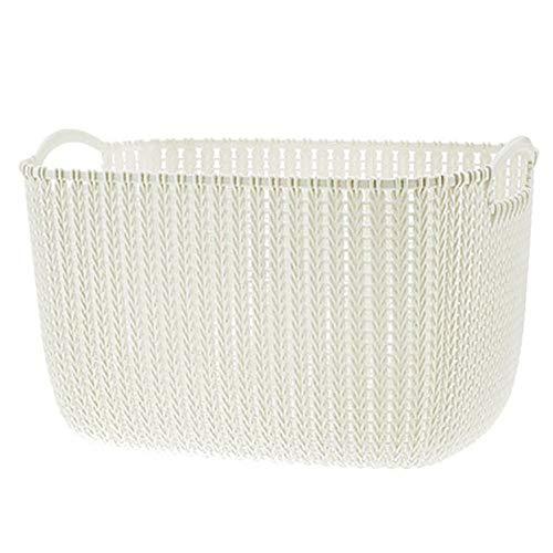Plastic Storage Baskets With HandlesRattan Weaved Style Rectangular Storage BasketsDirty HamperShopping BasketTough And DurableLarge CapacityWhite-Large