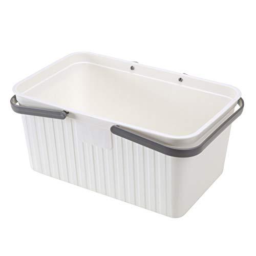 Yardwe Bathroom Storage Basket with Handle Plastic Storage Organizer Basket Laundry Basket for Bathroom Health and Beauty Products White