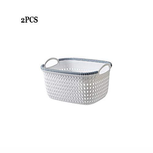 ZXT Multi-Purpose Shopping Mall Storage Basket Kitchen Bathroom Imitation Rattan Storage Basket Plastic Storage Baskets with Handle Bedroom Laundry Clothing Organizer Color  White Gray Size  S