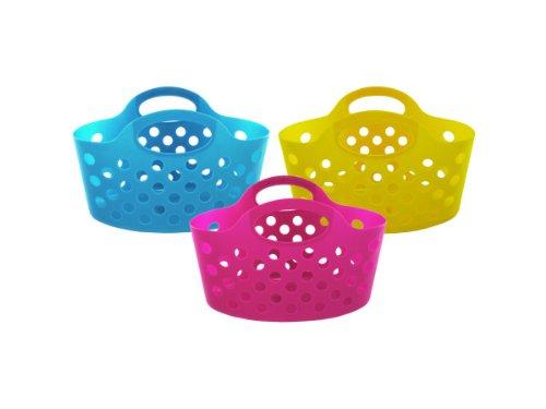 bulk buys UU366-36 Plastic Storage Basket with Handles