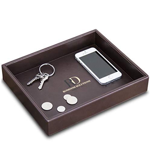 RomDom Leather Valet Tray Decorative Tray Catch All EDC Tray-Phone Wallet Keys Accessories Nightstand Organizer Dresser Organizer Side Tray Brown 102 X 84 X 18