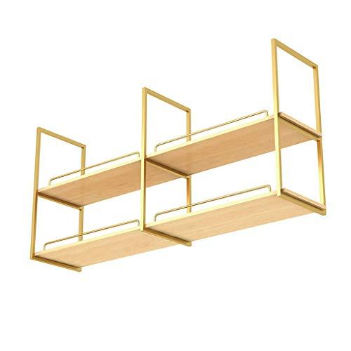 Ceiling Mounted Storage Rack Nordic Gold Iron Solid Wood Ceiling ShelfBar Restaurant Hanging Decorative Frame 4 Sizes Size  60×30×80cm