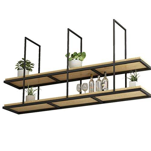 Home 2 Tier Wrought Iron Solid Wood Ceiling Shelf Retro LOFT Bar Restaurant Hanging Decoration Storage Shelf - Length 8060100 cm Size  120×30×80cm
