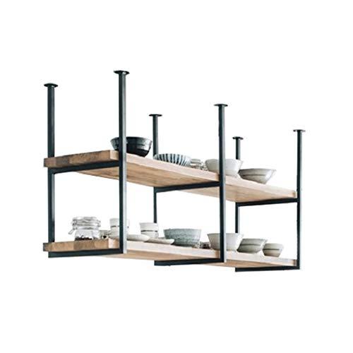 Retro Industry LOFT Restaurant Iron Solid Wood Ceiling Shelf 2 Tier Shelves ShelfBar Hanging Decoration Storage Rack 120×30×60cm
