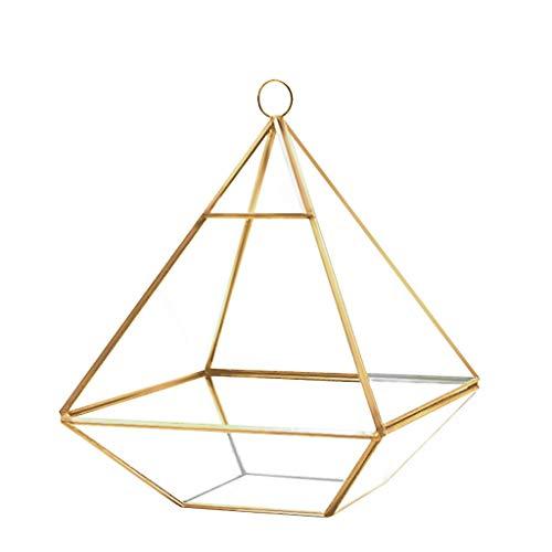 XGao Pyramid Vertical Metal Glass Vase Geometric Wall Mount Hanging Terrarium from Ceiling Wall Shelf Beautiful Transparent Vertebral Shape Brass Framed for Mosses Orchids Ferns Air Plants Gold
