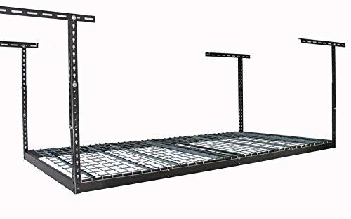 MonsterRax 4x8 Overhead Rack - 500 LB Capacity Adjustable Ceiling Mounted Rack Hammertone 24-45
