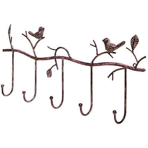 Decorative Rustic Tree Branch Birds Wall Mounted Metal 5 Coat Hook Clothing  Towel Hanger Storage Rack