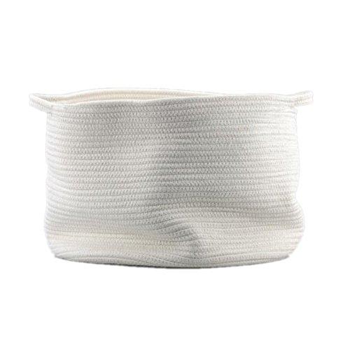 Generic Natural Large Cotton Thread Woven Rope Storage Basket Bin Hamper with Handles for Nursery Kids Room Storage White