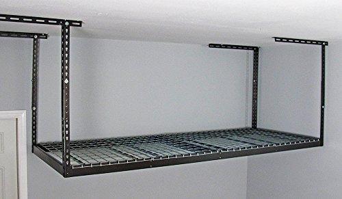 SafeRacks 2 4x8 Overhead Garage Storage Racks Heavy Duty 18-33 Ceiling Drop - Hammertone - Value Combo - Includes 8 Piece Accessory Hooks