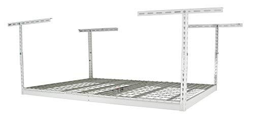 SafeRacks - 4x6 Overhead Garage Storage Rack - Height Adjustable Steel Overhead Storage Rack - 500 Pound Weight Capacity White 24-45