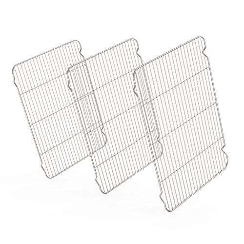 Stainless Steel Cooling Racks 3 Pack Zacfton Baking Racks Set 3 for Cooking Baking Roasting Grilling Cooling Fit Various Size Cookie Sheets Oven Health Dishwasher Safe